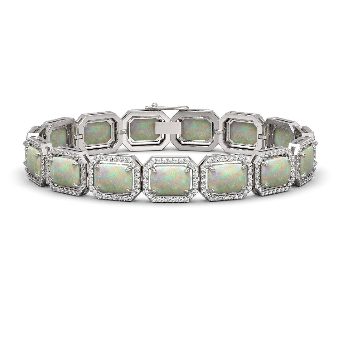 24.37 CTW Opal & Diamond Halo Bracelet 10K White Gold