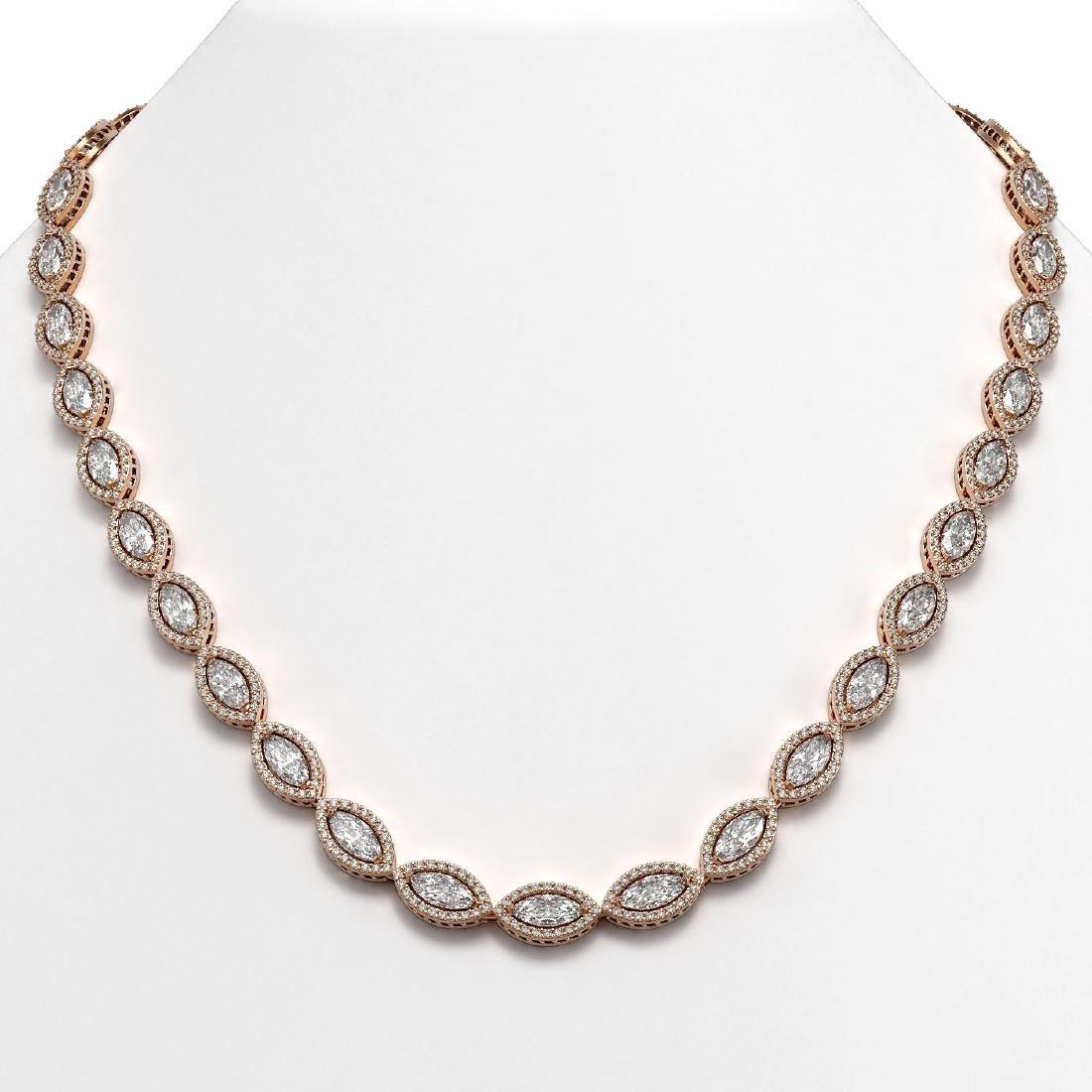 28.12 CTW Marquise Diamond Designer Necklace 18K Rose