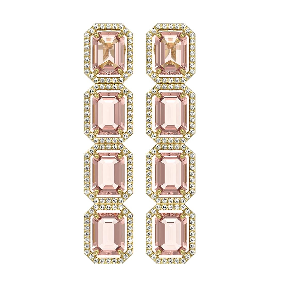 19.81 CTW Morganite & Diamond Halo Earrings 10K Yellow