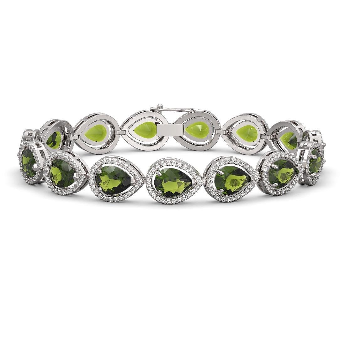 19.7 CTW Tourmaline & Diamond Halo Bracelet 10K White