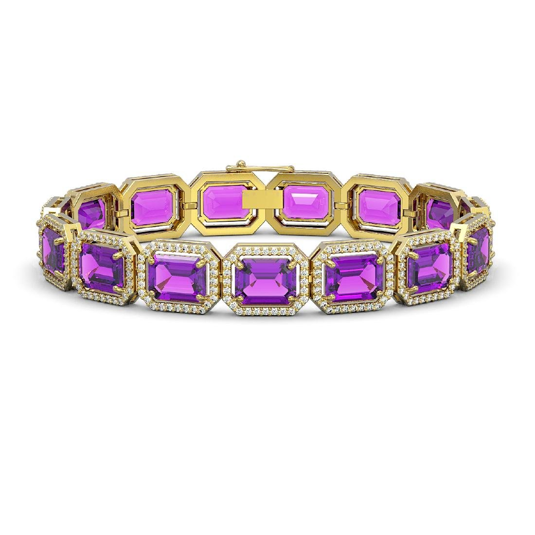 34.86 CTW Amethyst & Diamond Halo Bracelet 10K Yellow