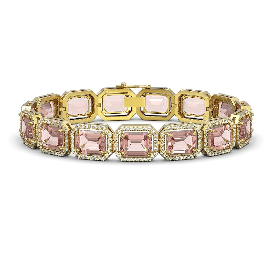 37.11 CTW Morganite & Diamond Halo Bracelet 10K Yellow