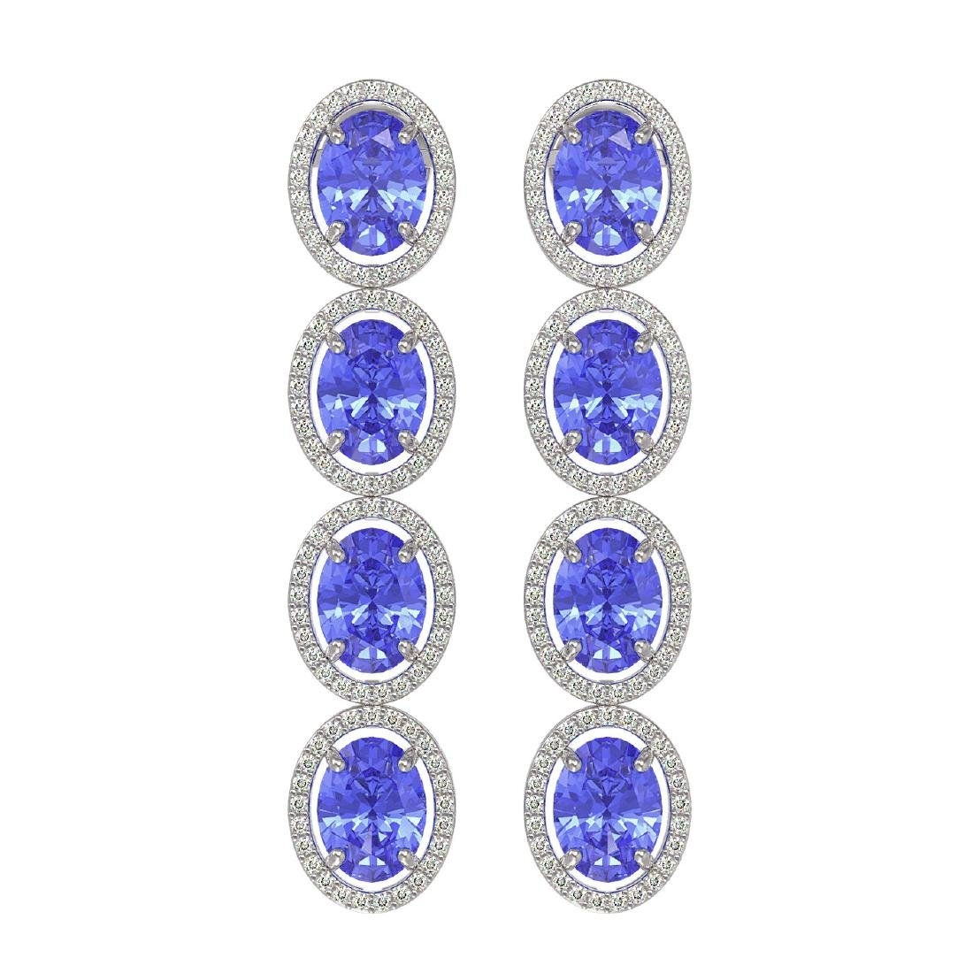 13.64 CTW Tanzanite & Diamond Halo Earrings 10K White