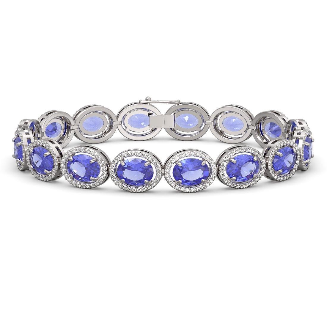 27.28 CTW Tanzanite & Diamond Halo Bracelet 10K White