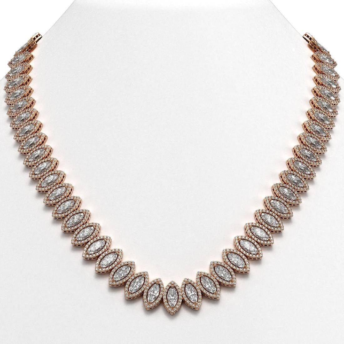 47.12 CTW Marquise Diamond Designer Necklace 18K Rose
