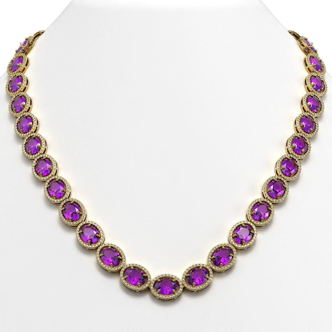 57.07 CTW Amethyst & Diamond Halo Necklace 10K Yellow
