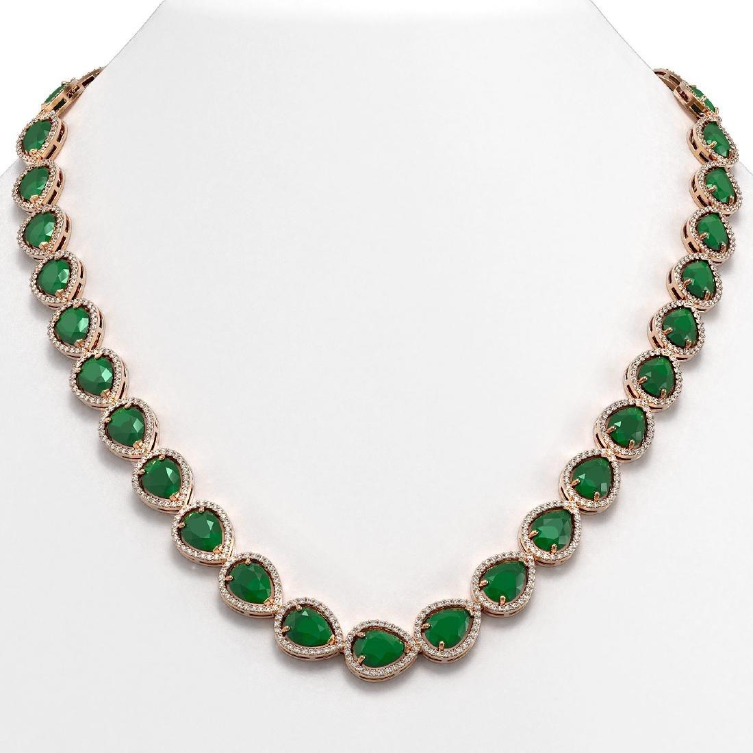 64.01 CTW Emerald & Diamond Halo Necklace 10K Rose Gold