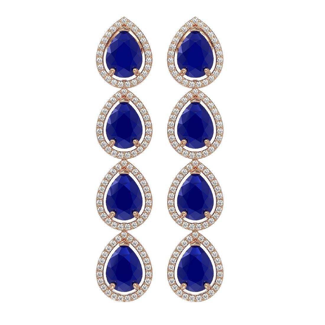 16.01 CTW Sapphire & Diamond Halo Earrings 10K Rose