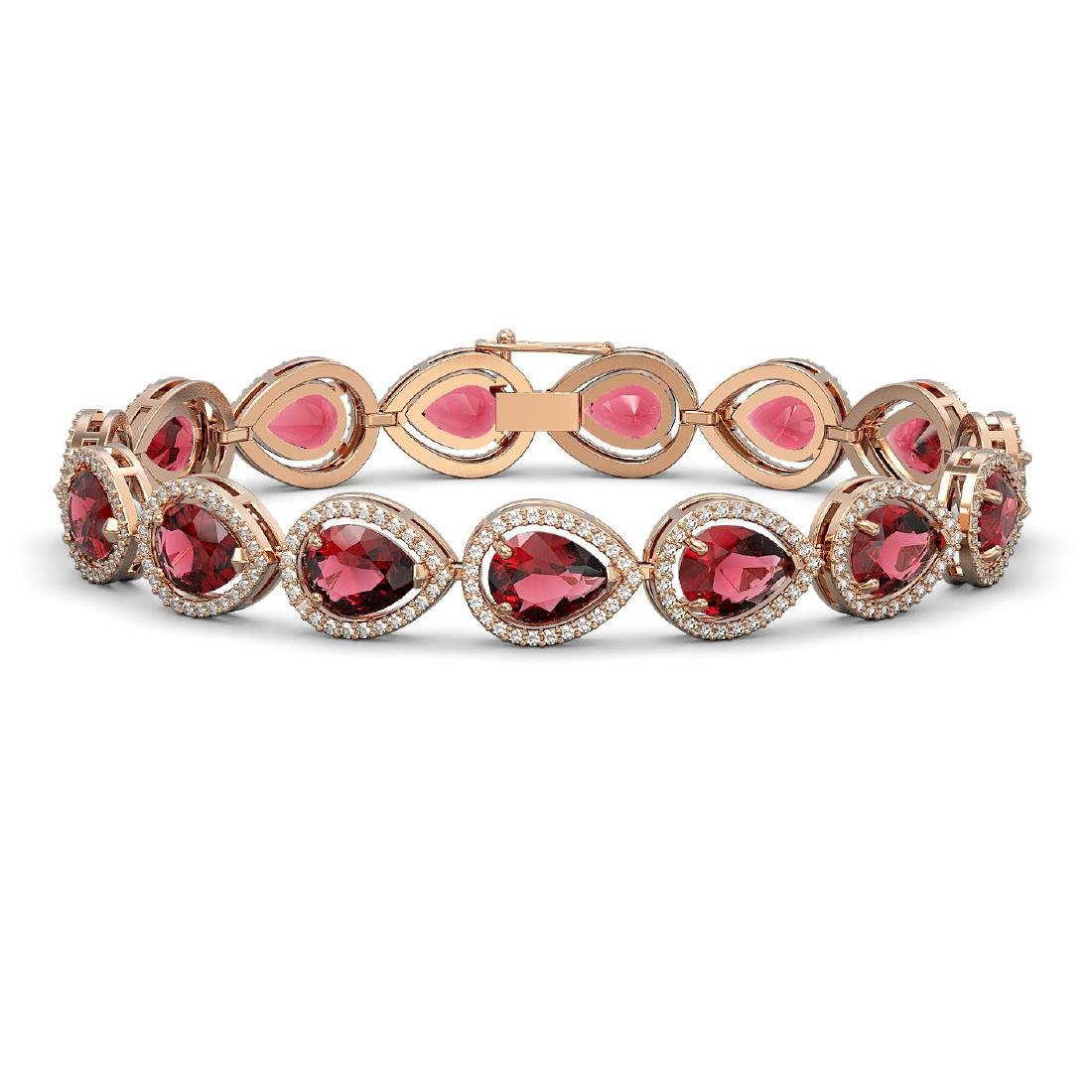 19.7 CTW Tourmaline & Diamond Halo Bracelet 10K Rose