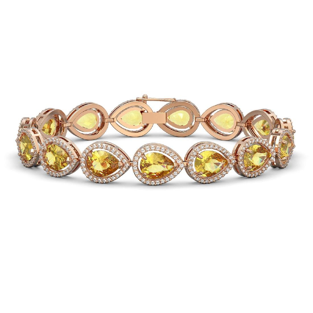 17.3 CTW Fancy Citrine & Diamond Halo Bracelet 10K Rose