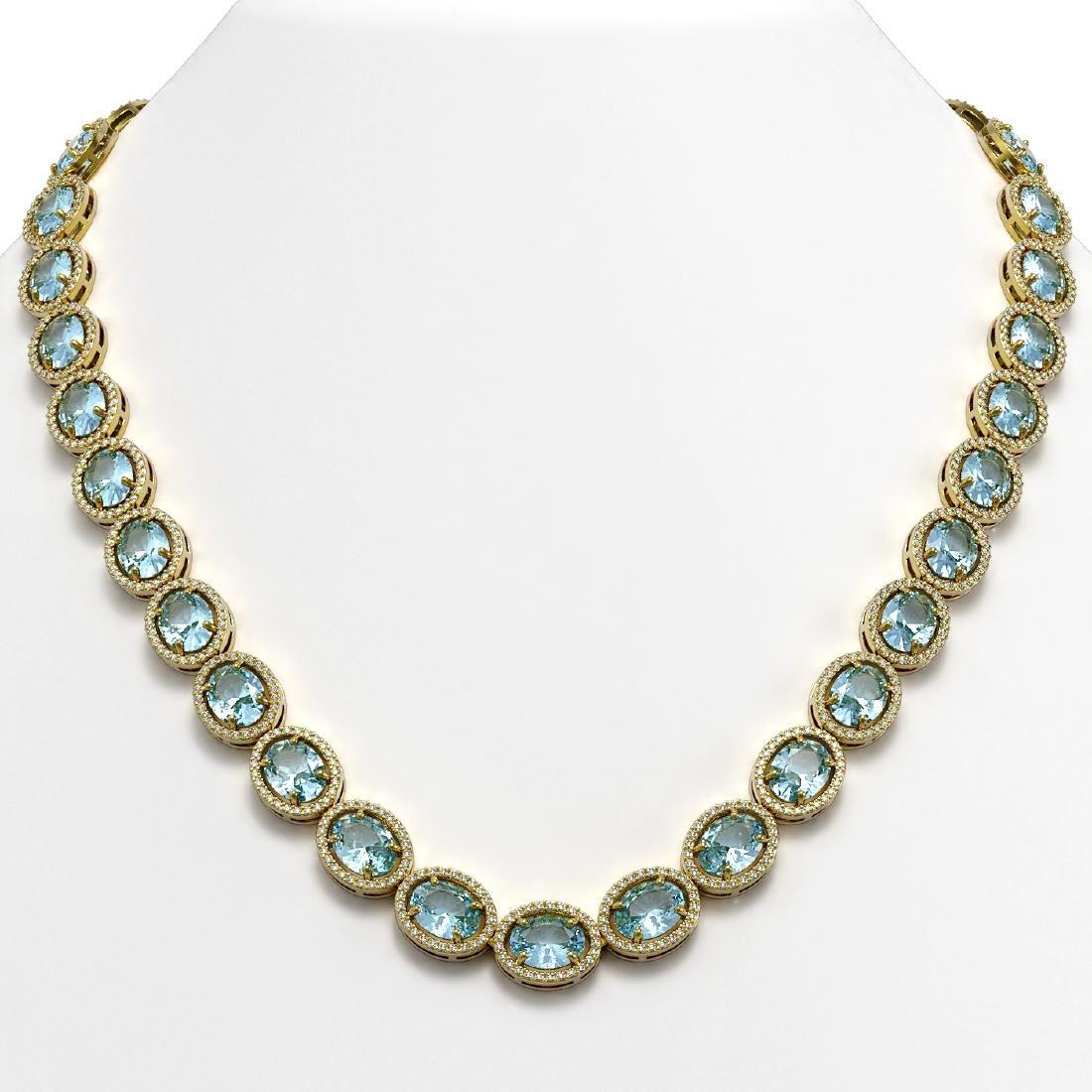 54.11 CTW Aquamarine & Diamond Halo Necklace 10K Yellow