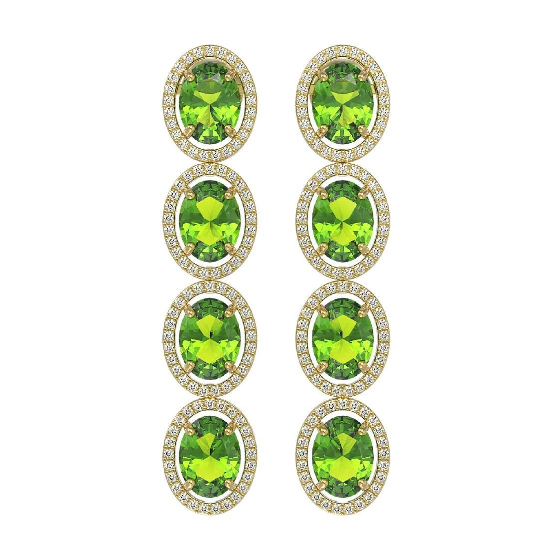 14.04 CTW Peridot & Diamond Halo Earrings 10K Yellow