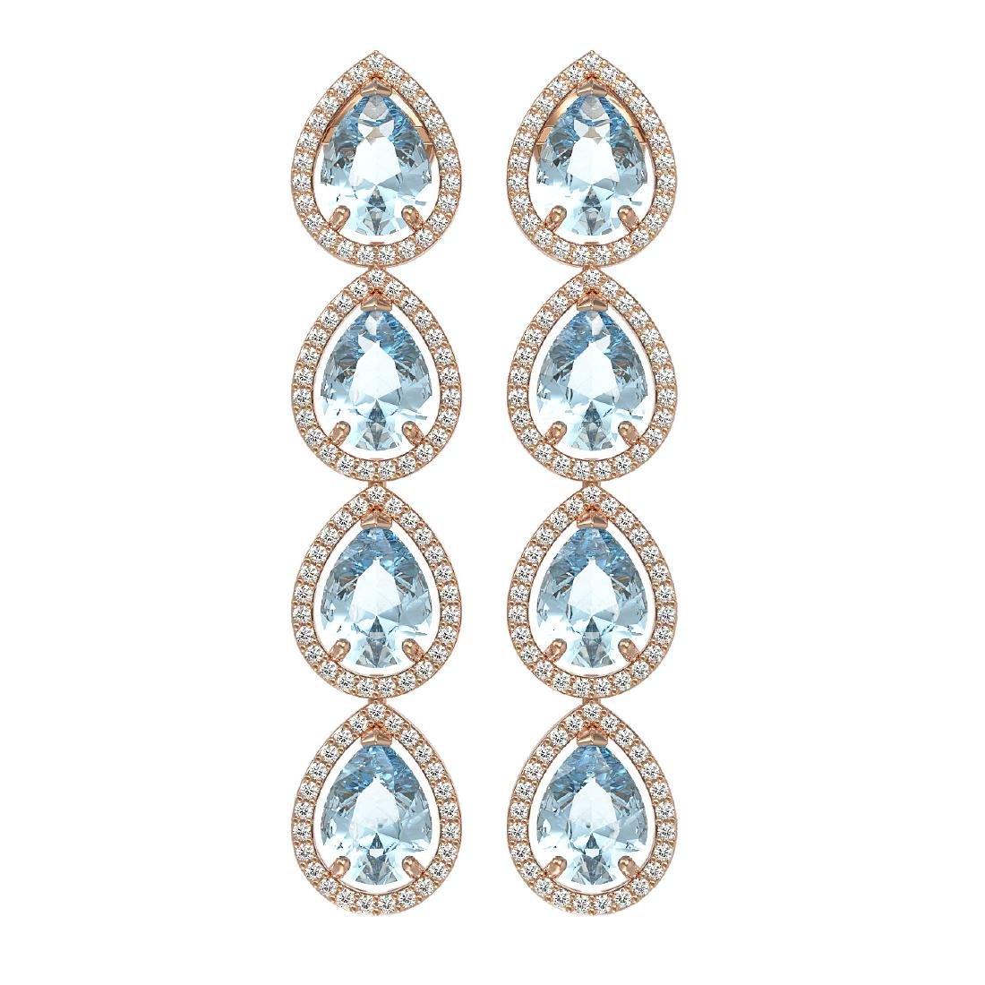 10.4 CTW Sky Topaz & Diamond Halo Earrings 10K Rose