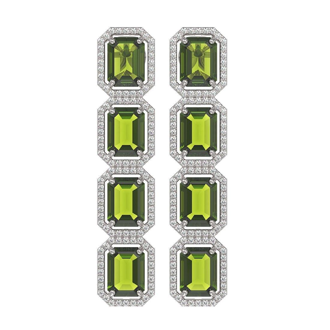 19.44 CTW Tourmaline & Diamond Halo Earrings 10K White