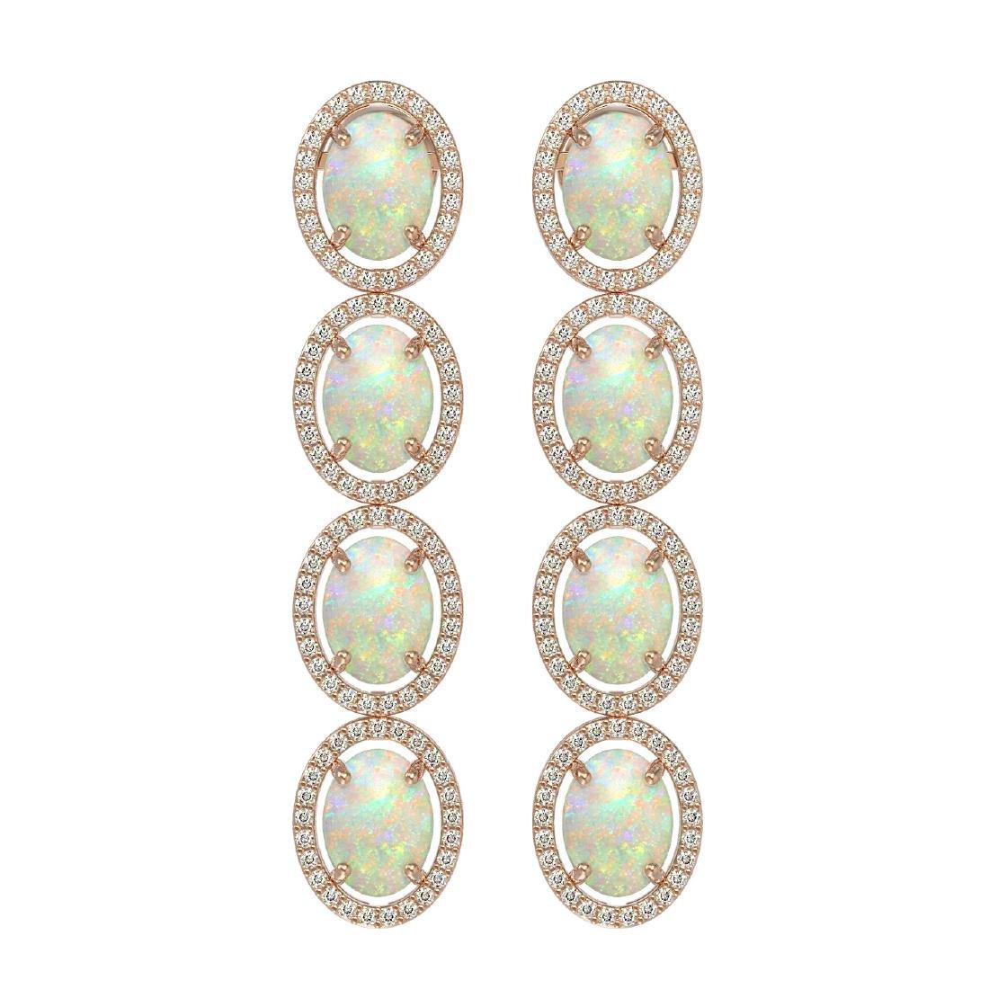 9.16 CTW Opal & Diamond Halo Earrings 10K Rose Gold