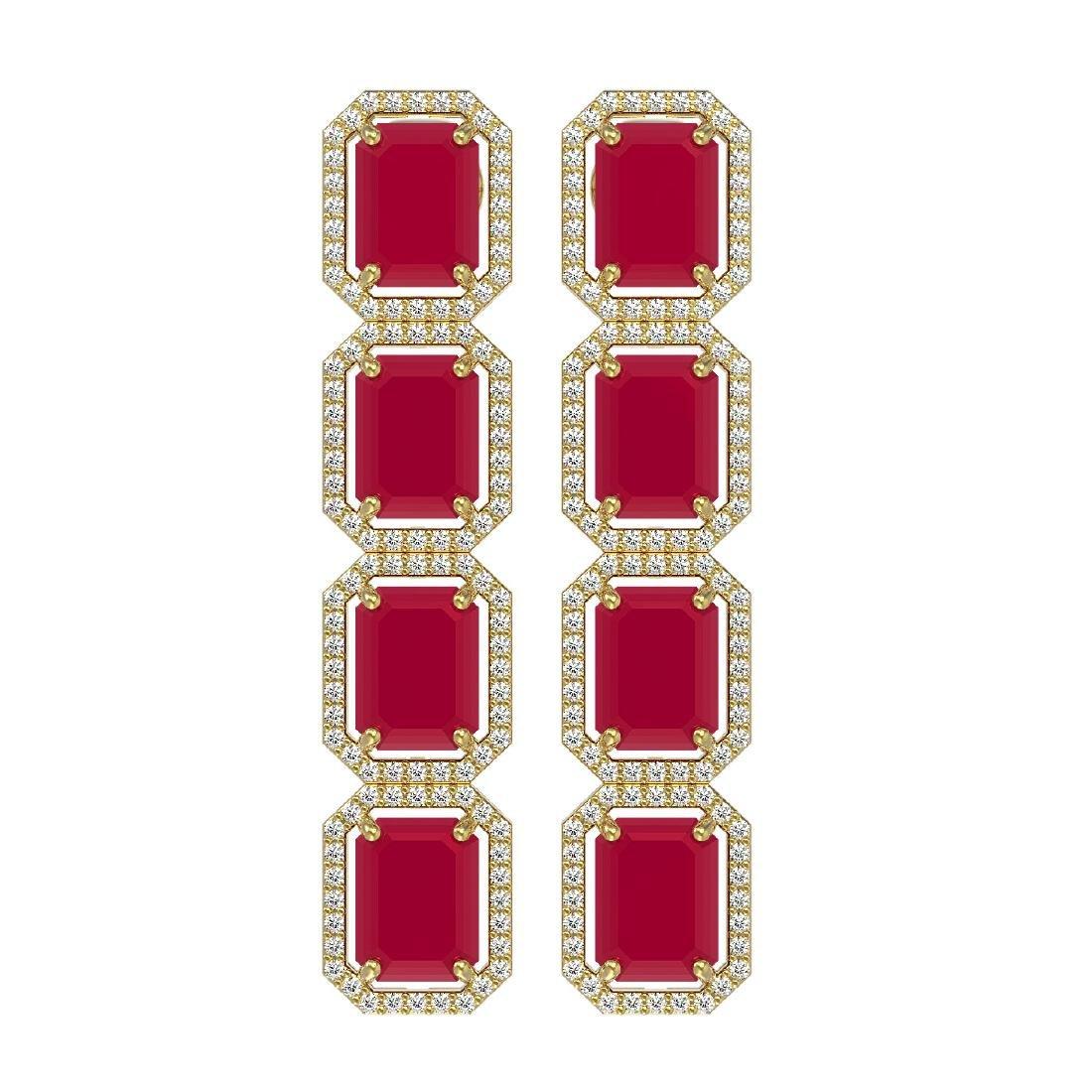 20.59 CTW Ruby & Diamond Halo Earrings 10K Yellow Gold