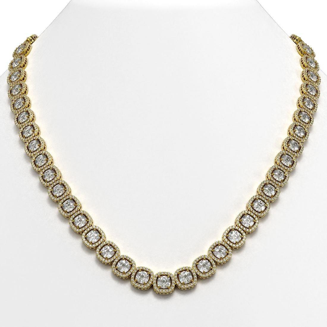 37.60 CTW Cushion Diamond Designer Necklace 18K Yellow