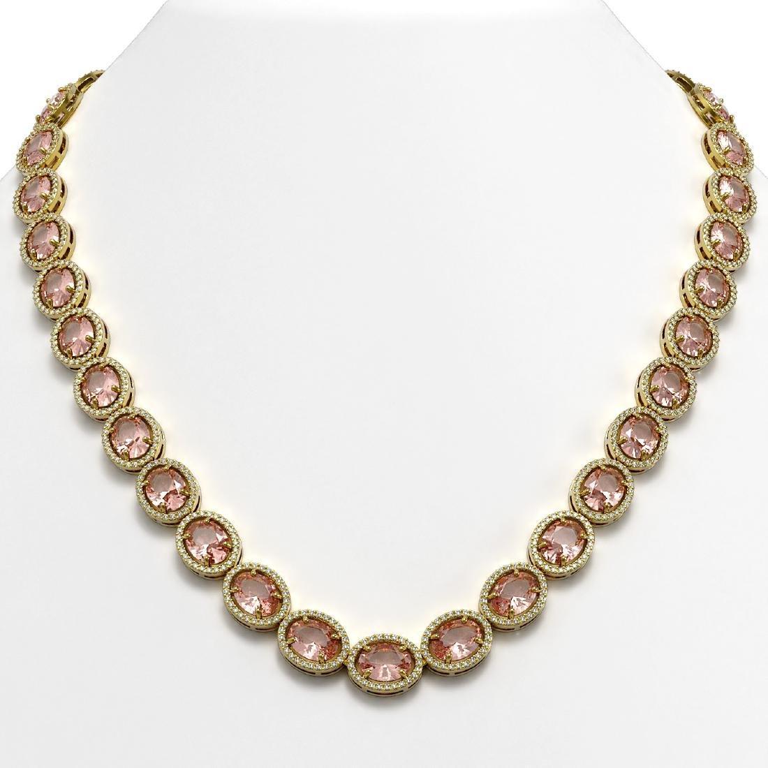 52.63 CTW Morganite & Diamond Halo Necklace 10K Yellow