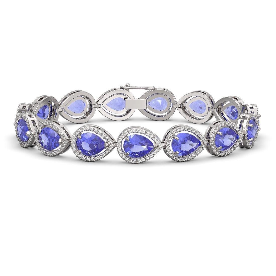 21.06 CTW Tanzanite & Diamond Halo Bracelet 10K White
