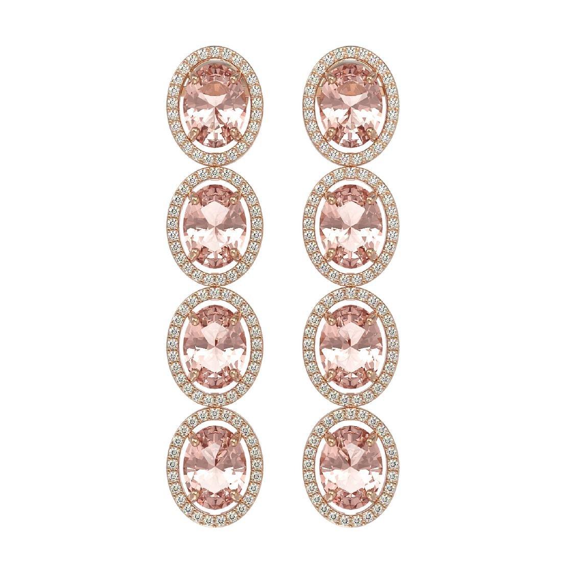 11.4 CTW Morganite & Diamond Halo Earrings 10K Rose