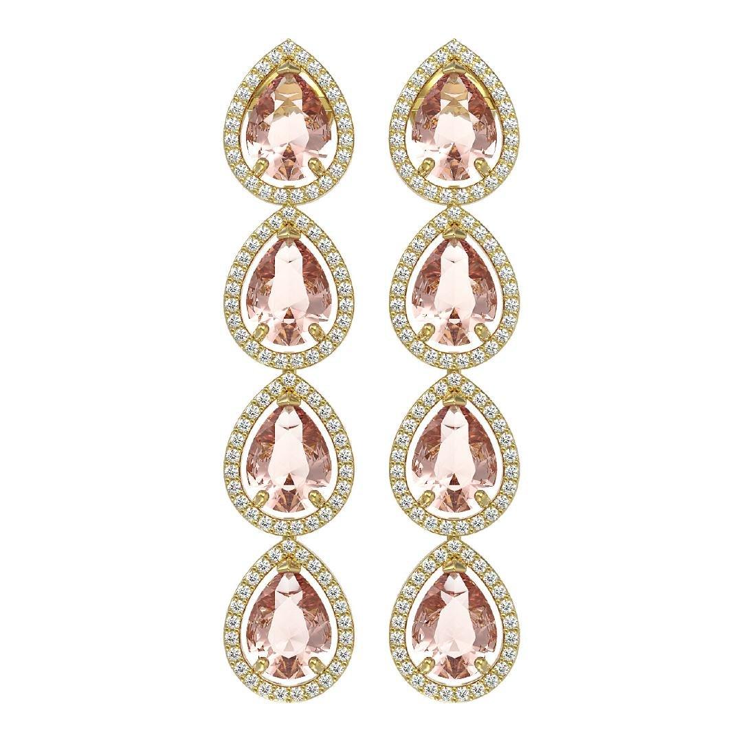 10.4 CTW Morganite & Diamond Halo Earrings 10K Yellow