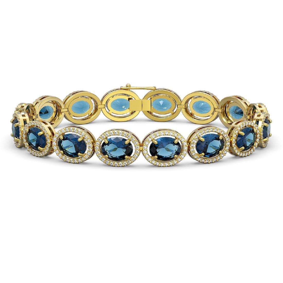 29.53 CTW London Topaz & Diamond Halo Bracelet 10K