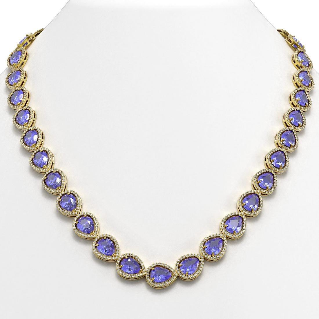 44.8 CTW Tanzanite & Diamond Halo Necklace 10K Yellow