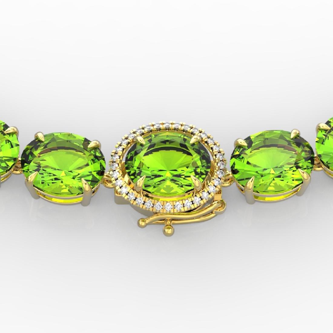 148 CTW Peridot & VS/SI Diamond Solitaire Necklace 14K