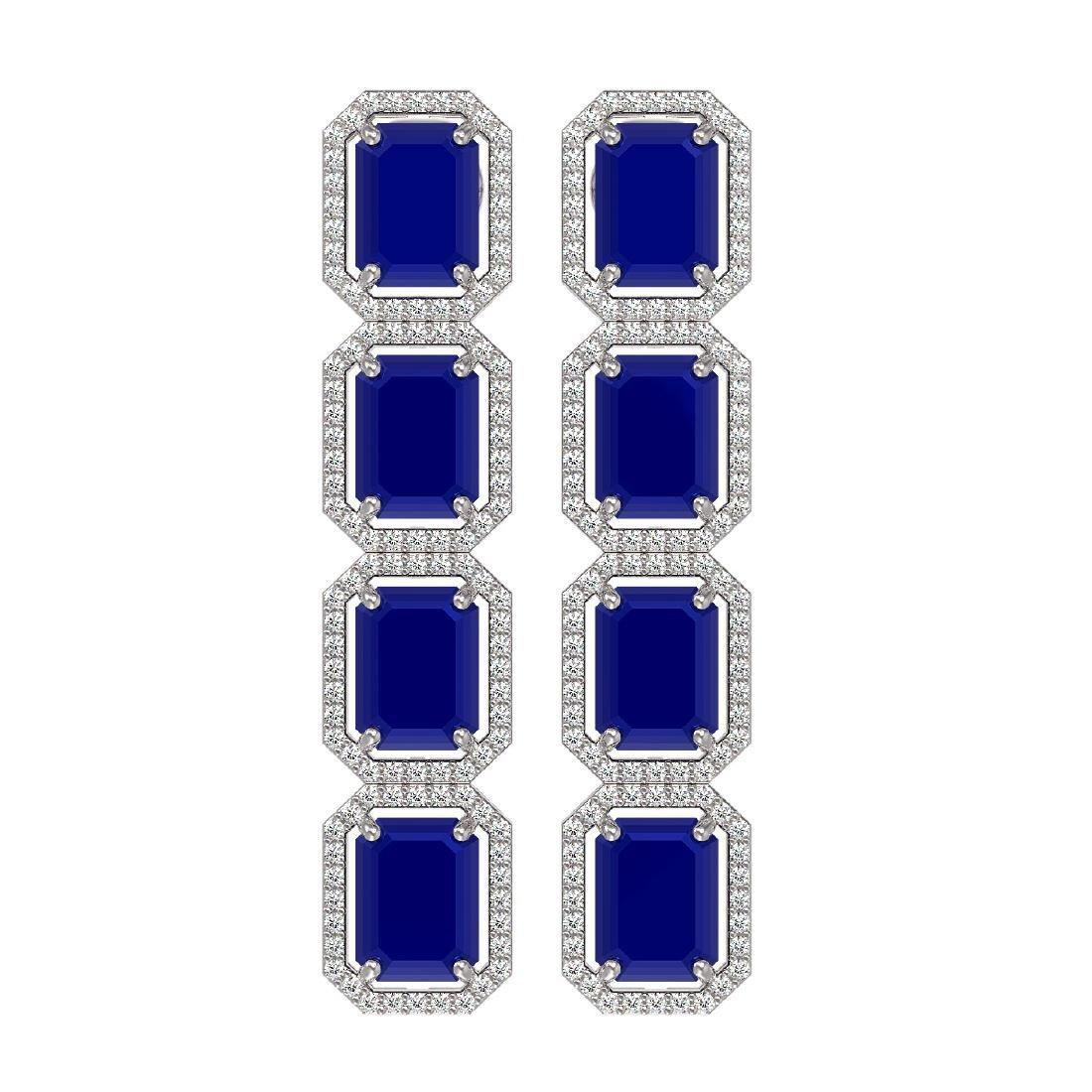 20.59 CTW Sapphire & Diamond Halo Earrings 10K White
