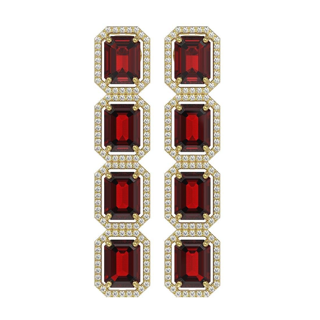 17.8 CTW Garnet & Diamond Halo Earrings 10K Yellow Gold