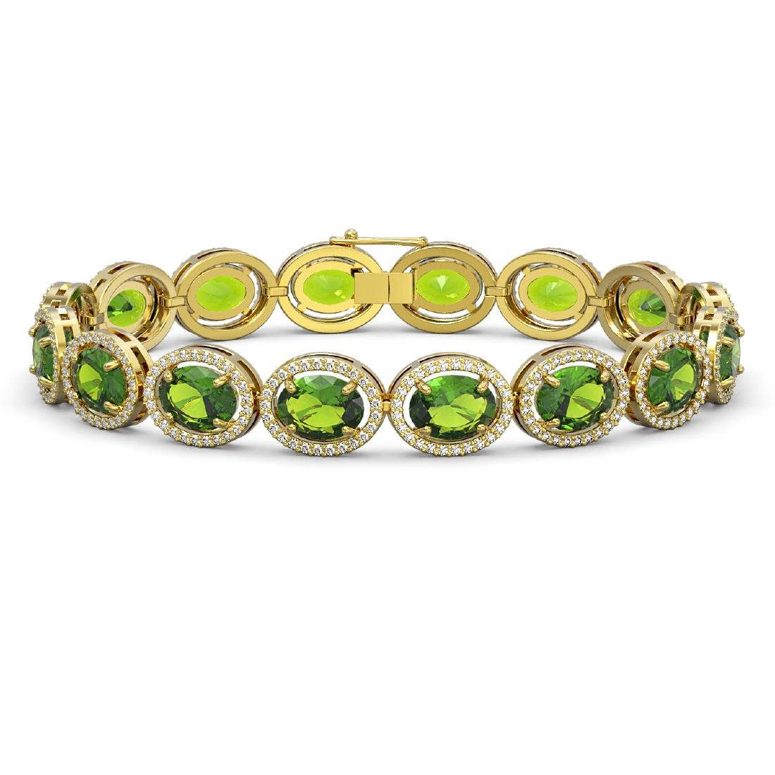 28.08 CTW Peridot & Diamond Halo Bracelet 10K Yellow