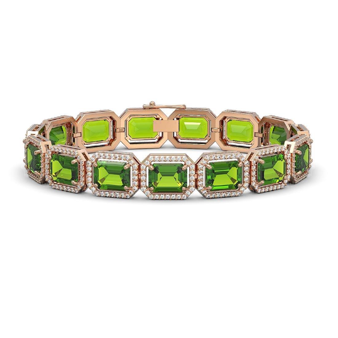 33.37 CTW Peridot & Diamond Halo Bracelet 10K Rose Gold