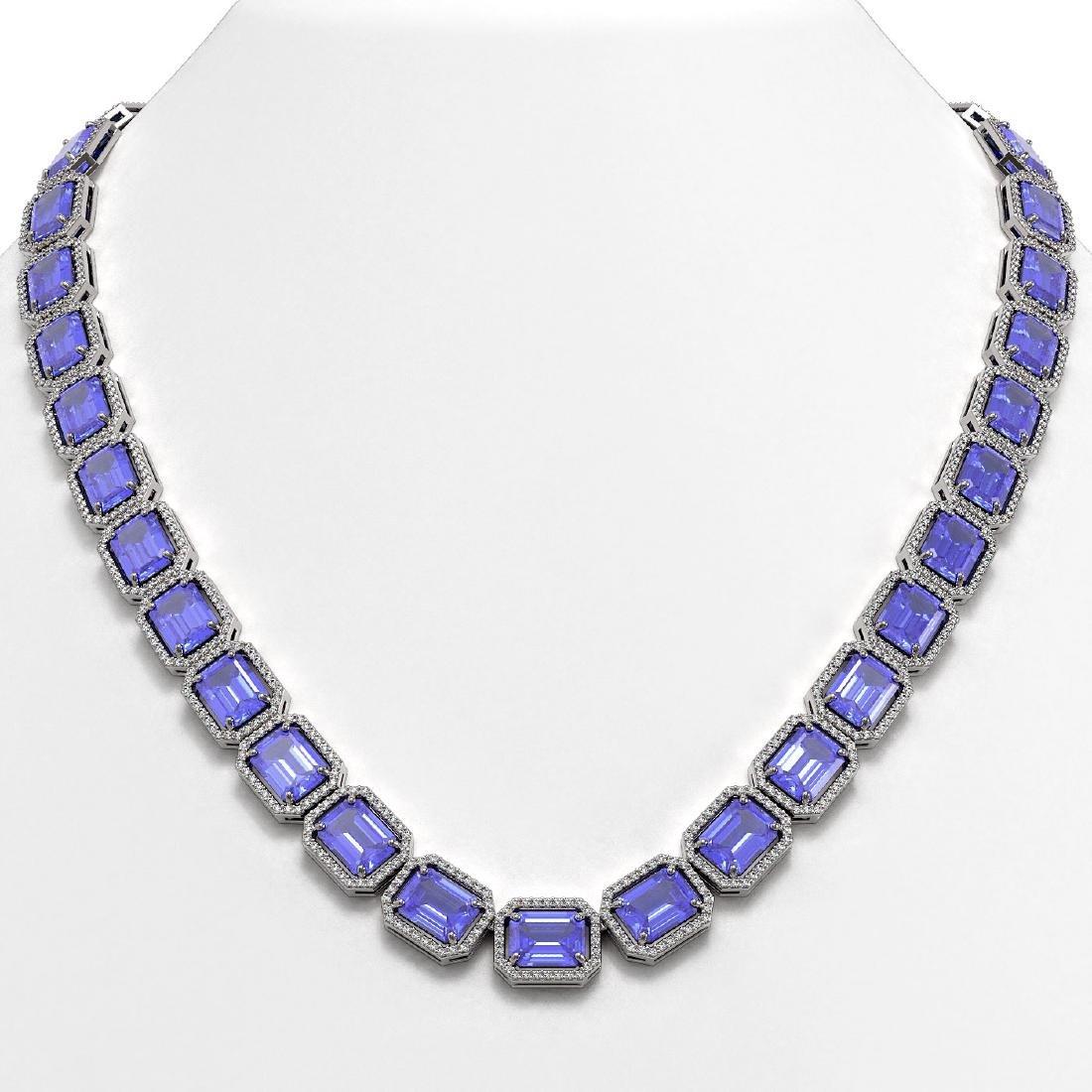 79.99 CTW Tanzanite & Diamond Halo Necklace 10K White