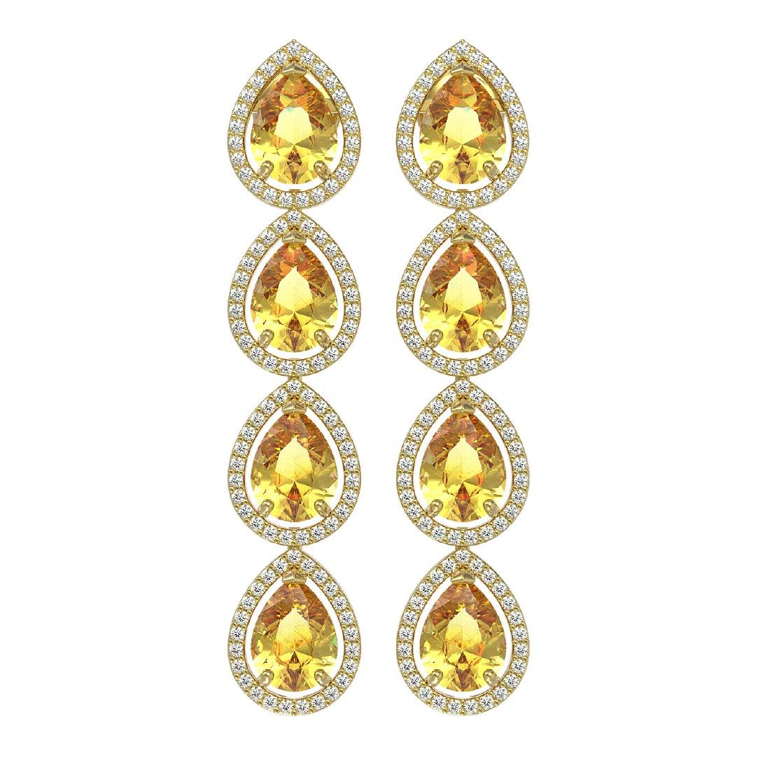 9.2 CTW Fancy Citrine & Diamond Halo Earrings 10K