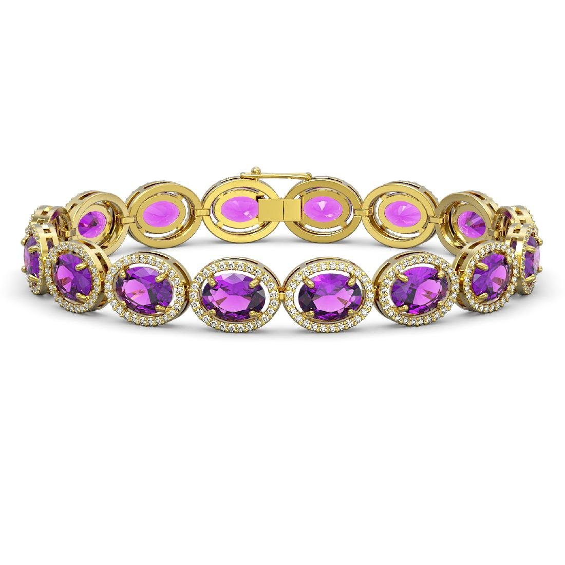 24.72 CTW Amethyst & Diamond Halo Bracelet 10K Yellow