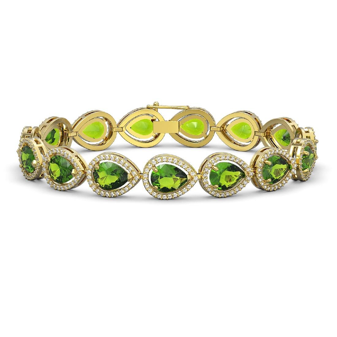 15.8 CTW Peridot & Diamond Halo Bracelet 10K Yellow