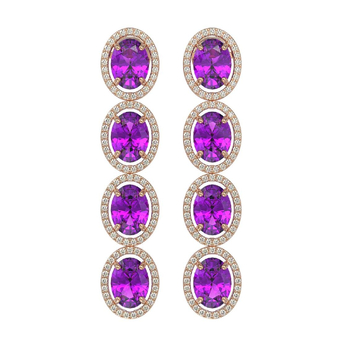 12.36 CTW Amethyst & Diamond Halo Earrings 10K Rose
