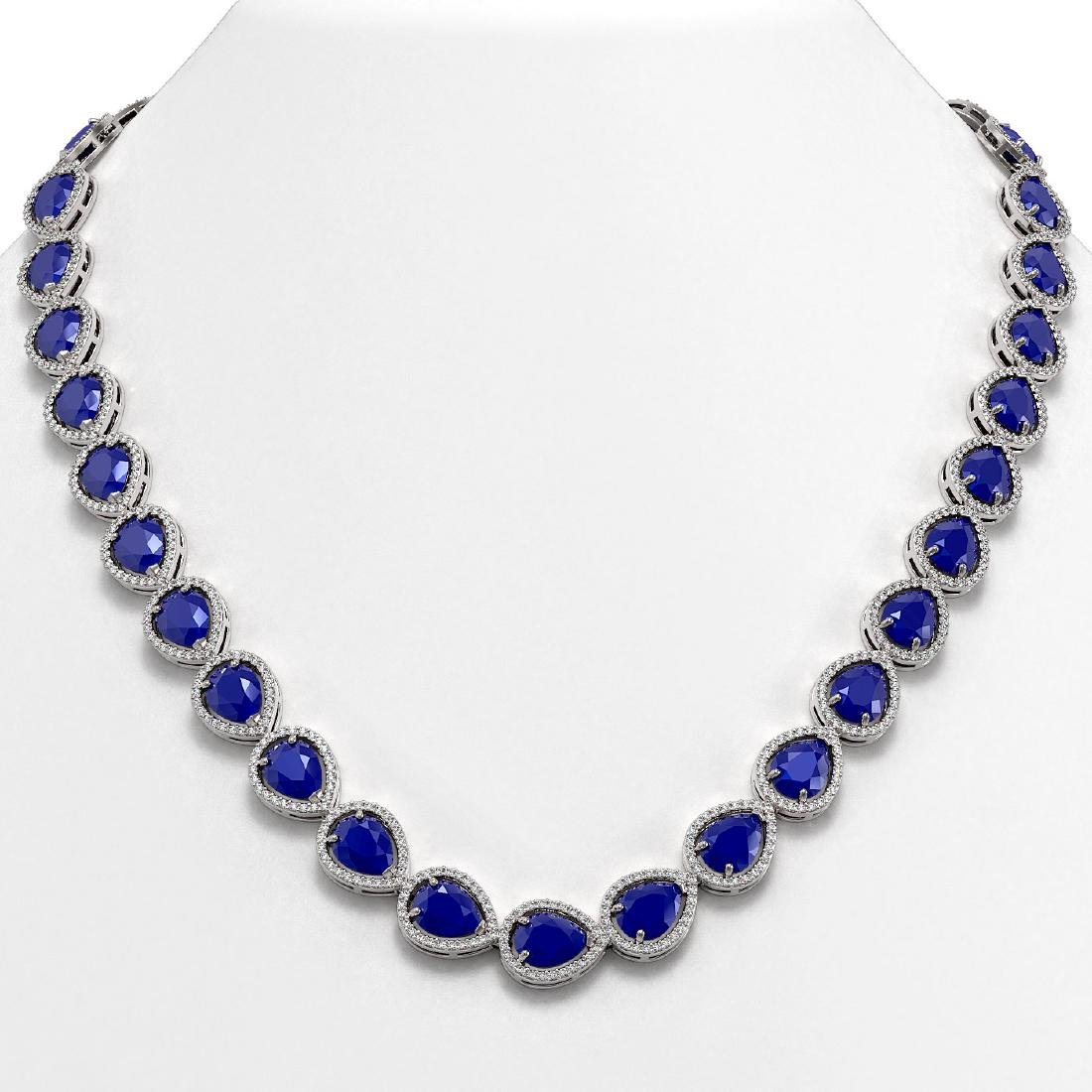 64.01 CTW Sapphire & Diamond Halo Necklace 10K White