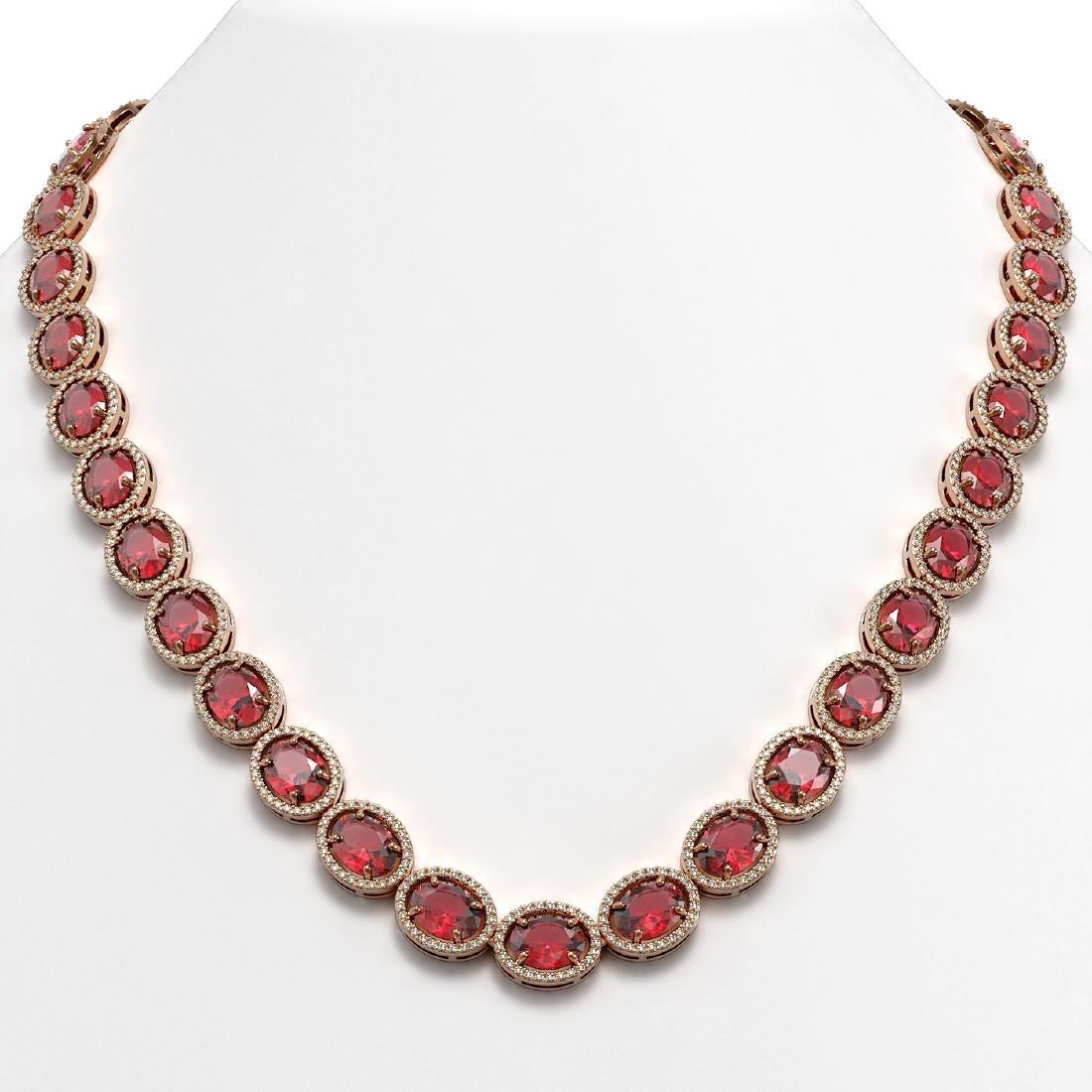54.48 CTW Tourmaline & Diamond Halo Necklace 10K Rose