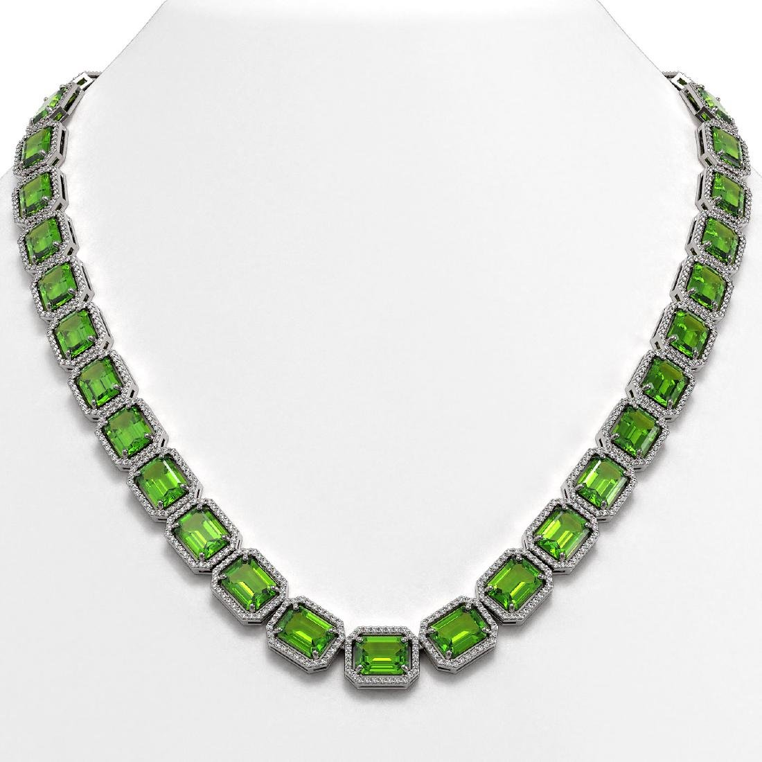 73.41 CTW Peridot & Diamond Halo Necklace 10K White