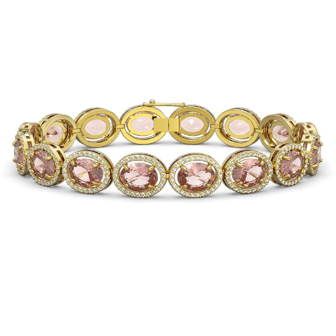 22.8 CTW Morganite & Diamond Halo Bracelet 10K Yellow