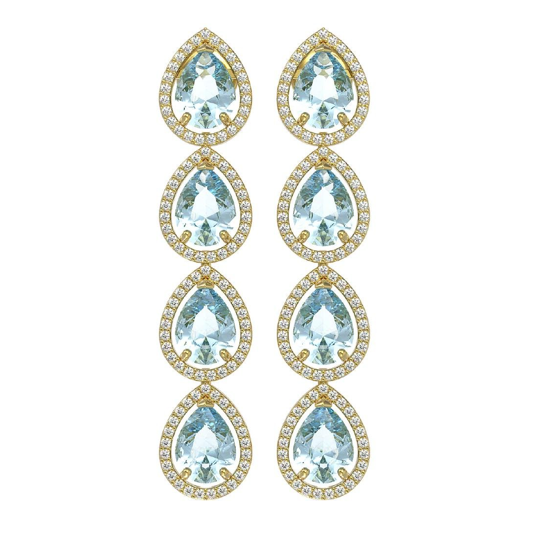 10.56 CTW Aquamarine & Diamond Halo Earrings 10K Yellow