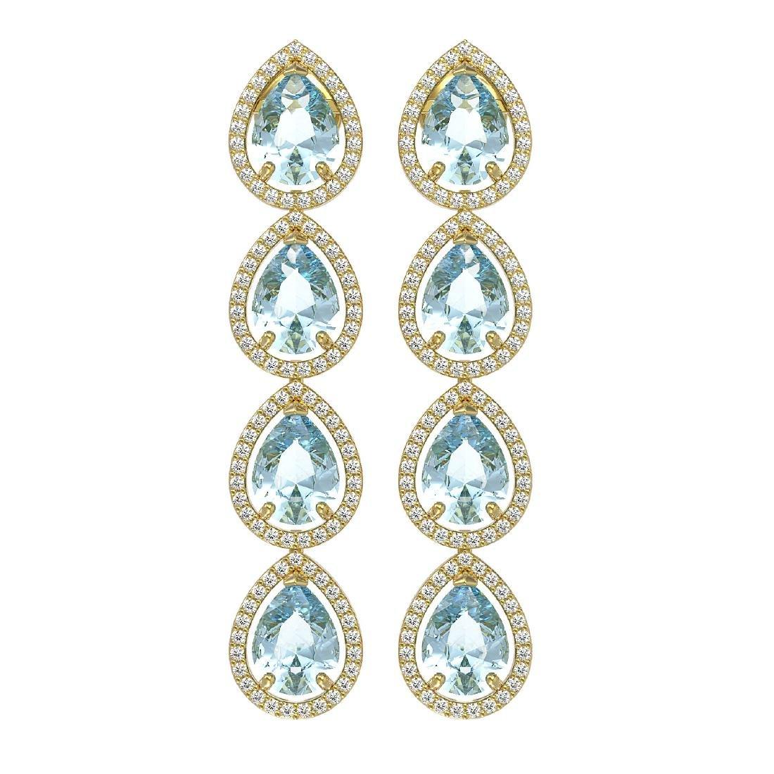 10.56 CTW Aquamarine & Diamond Halo Earrings 10K Yellow
