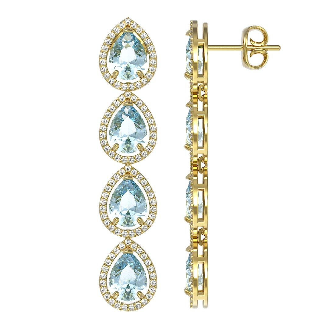 10.56 CTW Aquamarine & Diamond Halo Earrings 10K Yellow - 2