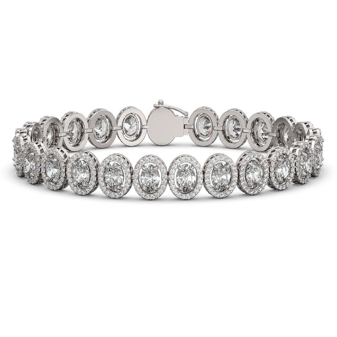 18.8 CTW Oval Diamond Designer Bracelet 18K White Gold
