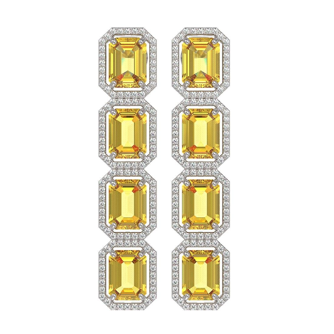 18.64 CTW Fancy Citrine & Diamond Halo Earrings 10K
