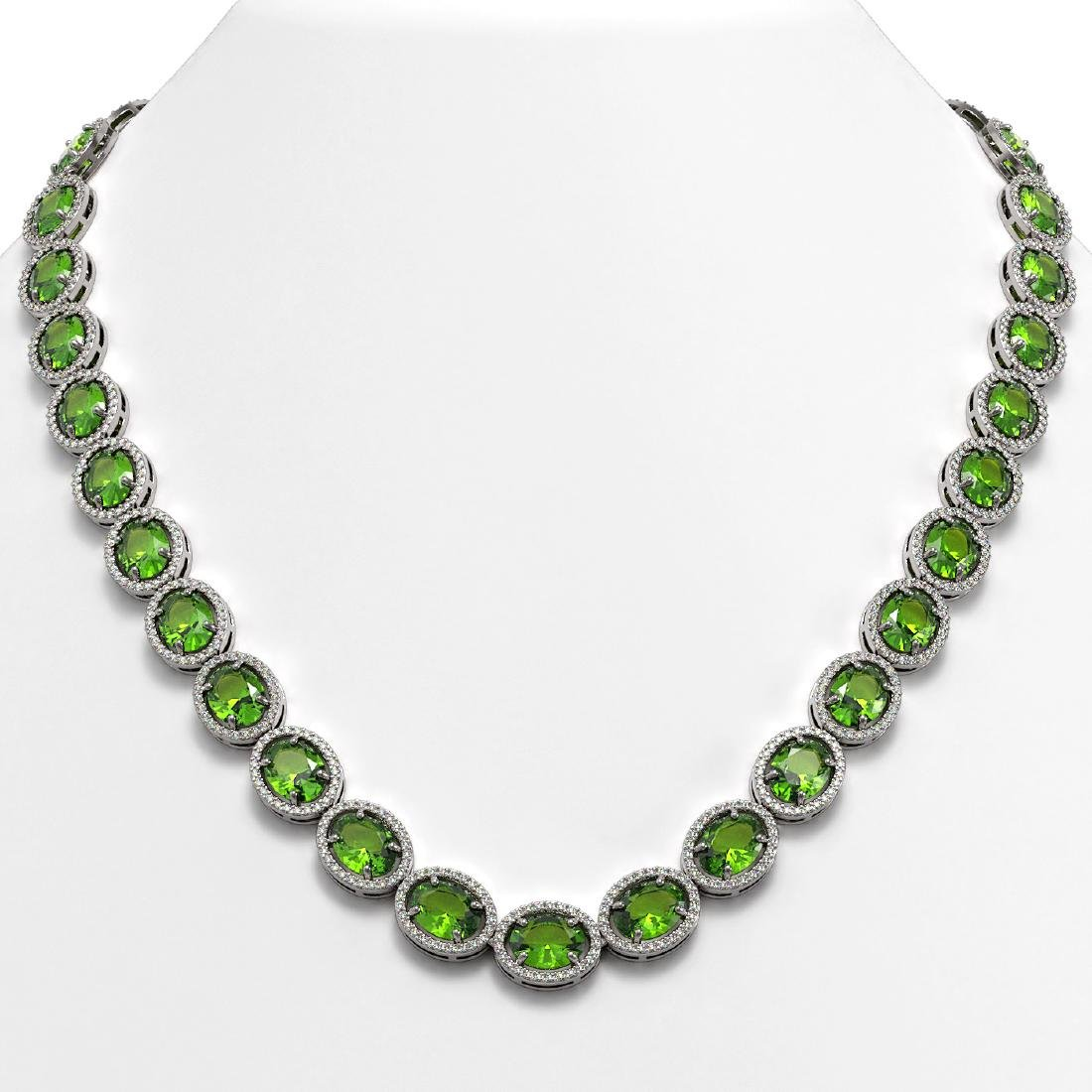 64.84 CTW Peridot & Diamond Halo Necklace 10K White