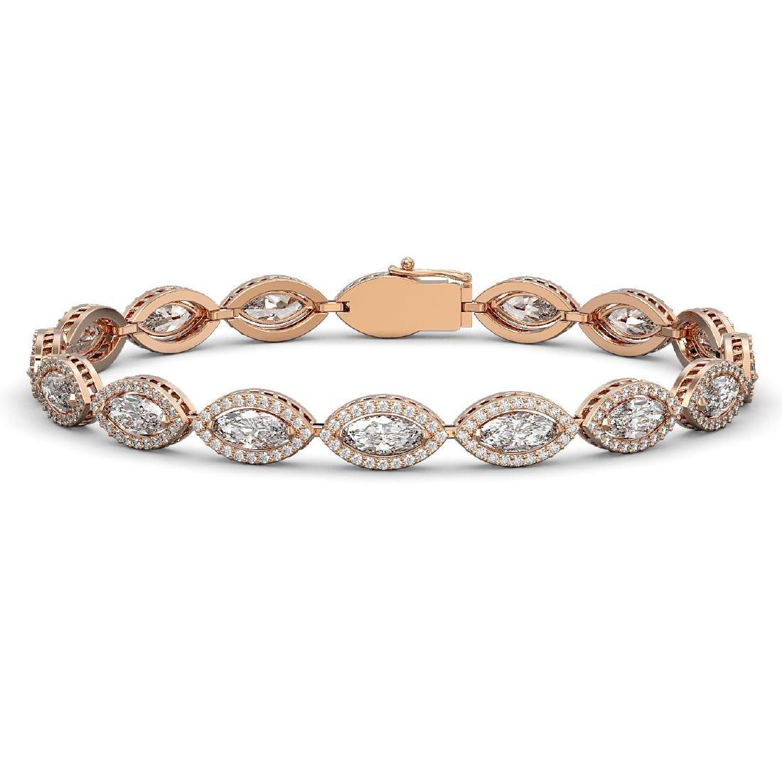 12.16 CTW Marquise Diamond Designer Bracelet 18K Rose