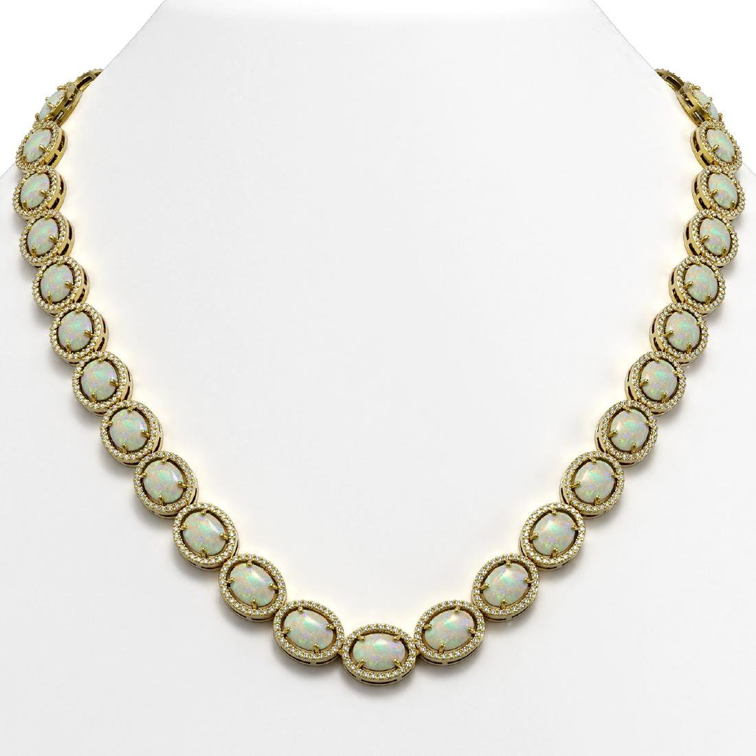42.29 CTW Opal & Diamond Halo Necklace 10K Yellow Gold