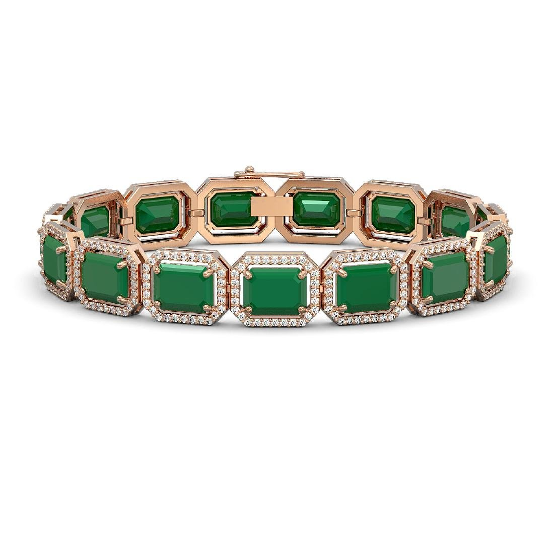 38.61 CTW Emerald & Diamond Halo Bracelet 10K Rose Gold